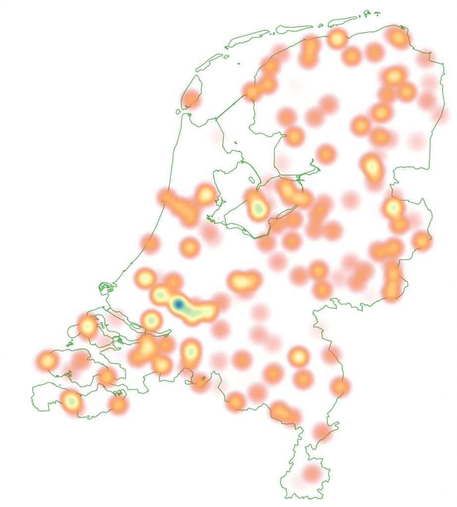 Heatmap projectlocaties